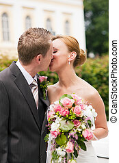 boda, -, besar, en el estacionamiento