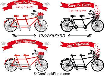 boda, bicicletas en tándem, vector, conjunto