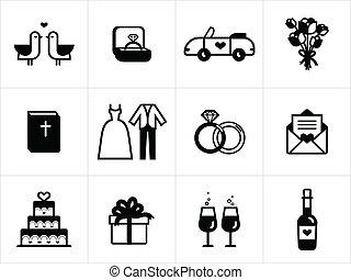 boda blanca, negro, iconos