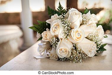 boda blanca, ramo, en, sepia, tonos