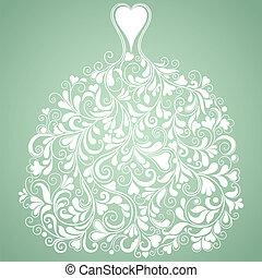 boda blanca, vestido, vendimia, vector, silueta