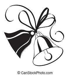 boda, bosquejo, arco, navidad, campana, o