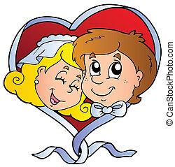 boda, caricatura, caras