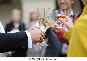 boda, celebración, con, champaña