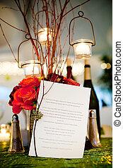 boda, cena, menú