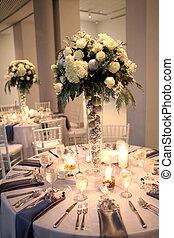 boda, centro de mesa, y, recepción