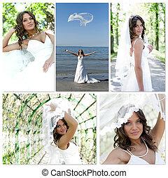 boda, collage., hecho, de, cinco, photos.
