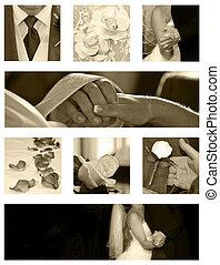 boda, collage, plano de fondo, colección, en, sepia