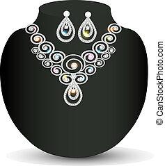 boda, collar, y, pendientes, con, blanco, gemas