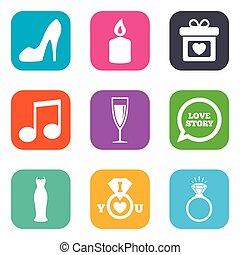 boda, compromiso, icons., anillo, con, diamond.
