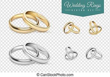 boda, conjunto, anillos