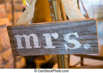 boda, decoración, sr, y, señora, señal