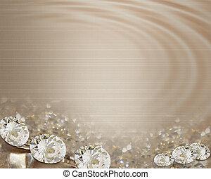 boda, diamantes, raso, invitación