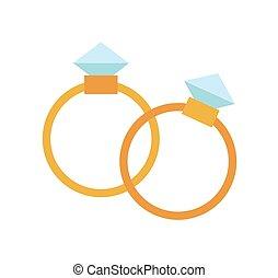 boda, dorado, anillos, aislado, fondo