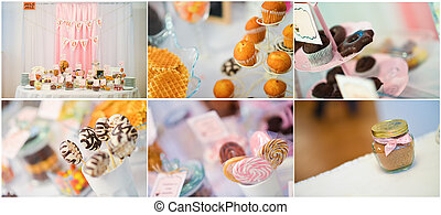 boda, dulces, collage