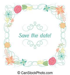 boda, estilizado, flowers., bastante, invitación, tarjeta