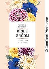 boda, flores, invitación
