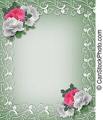 boda, frontera, rosa, y, blanco, rosas