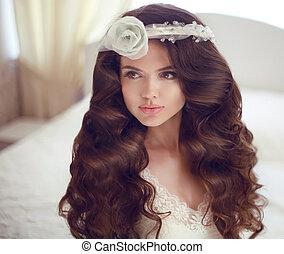 boda, hairstyle., hermoso, morena, novia, niña, modelo, con, largo, ondulado, hair., belleza, makeup., elegante, female.