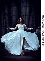 boda, hermoso, vestido