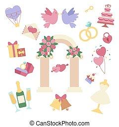 boda, icono, vector, conjunto, aislado, blanco, plano de fondo