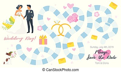 boda, juego de mesa, plantilla