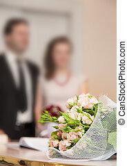 boda, novio, novia, ramo