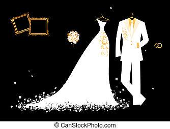 boda, novio, traje, y, novia, vestido, blanco, en, negro,...