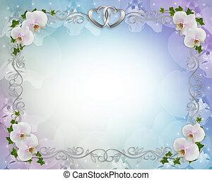 boda, orquídeas, invitación, frontera