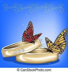 boda, plano de fondo, con, anillos