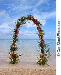 boda playa, arco, o, puerta