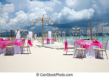 boda playa, disposición
