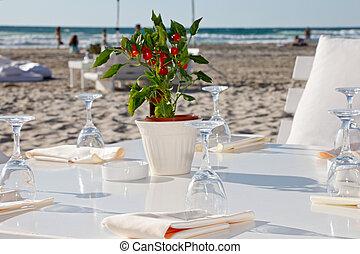 boda, playa, recepción