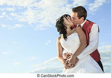 boda, retrato fino del arte, de, pareja