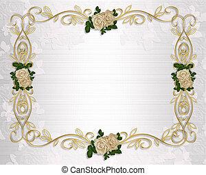 boda, rosas, invitación