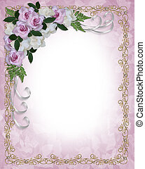 boda, rosas, invitación, gardenias