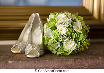 boda, shoes, y, flores, ramo
