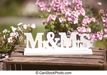 boda, sr, y, señora