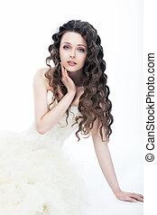boda, style., retrato, de, magnífico, mujer, novia, -, pelo rizado