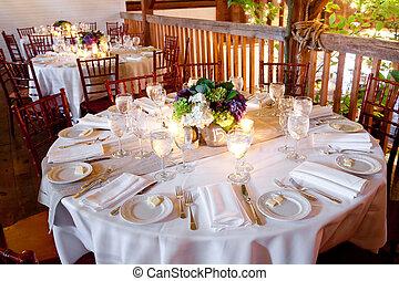 boda, tabla, conjunto, para, el cenar fino