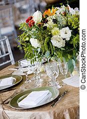 boda, tabla, conjunto, para, un, catered, acontecimiento