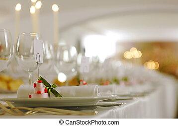 boda, tabla, detalles