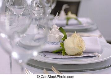 boda, tabla, detalles, con, rosa amarilla