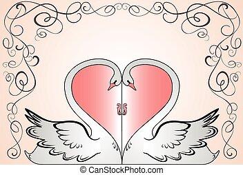 boda, tarjeta, con, cisnes