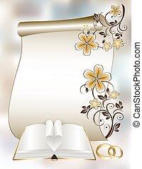 boda, tarjeta, con, un, patrón floral, y, libro