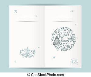 boda, tarjeta, diseño, con, lugar, para, su, texto