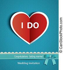boda, tarjeta, en, forma, de, corazón