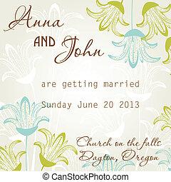 boda, tarjeta, invitación