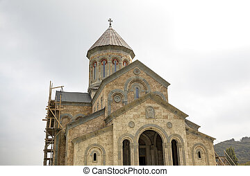 bodbe., temple, nino., monastère, rue., kakheti., georgia.