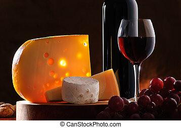 bodegón, con, queso, uva, y, vino